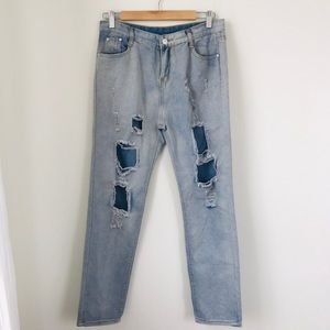 Denim - Distressed High Waisted Jeans NWOT